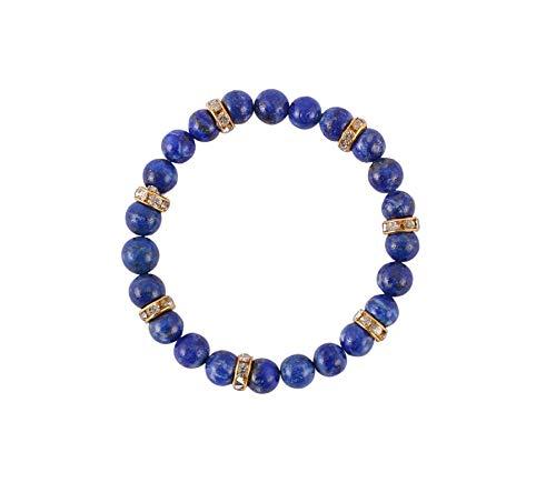 Aatm Edelsteen Lapis Lazuli Mooi met Connector Charm Armband Steen Voor Verlichting en Balans (Kralen Grootte - 7-8 mm)