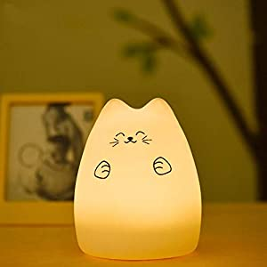 Kids Night Light, LED Cat Night Light Kitten Lamp Colorful Lighting Tap Control Model Chang Silicone Toy Soft Cover Nursery Bedroom Bedside (Lucky Cat)