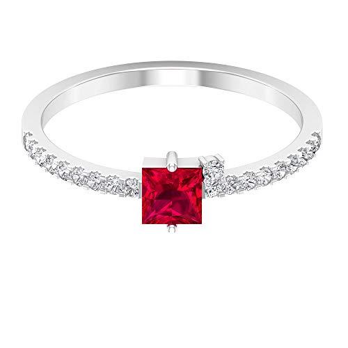 Anillo de rubí creado en laboratorio con corte princesa de 4x4 mm, anillo de clúster de diamantes HI-SI, anillo solitario con piedras laterales, 14K Oro blanco, ruby lab creado, Size:EU 44
