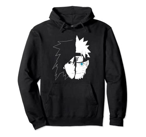 Naruto Shippuden Naruto Sasuke Cara partida Sudadera con Capucha