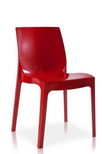 GRAND SOLEIL S6317R Grandsoleil Upon Ice Higlopp-Sedia impilabile, 54 x 52 x 81 cm, Colore: Rosso Lucido, Policarbonato