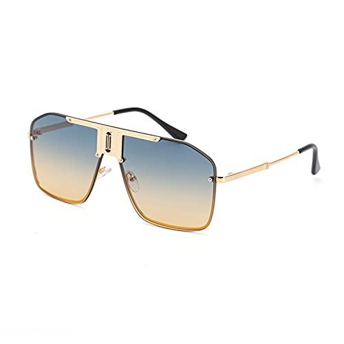BAJIE Gafas de Sol Gafas de Sol con Montura Grande de Metal a la Moda Gafas de Sol con Espejo de Sapo Masculino