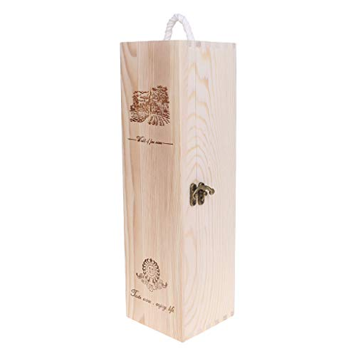 Fafalloagrron Caja de vino tinto retro vacía de una sola botella Paulownia caja de almacenamiento contenedor portador uva whisky caja de embalaje