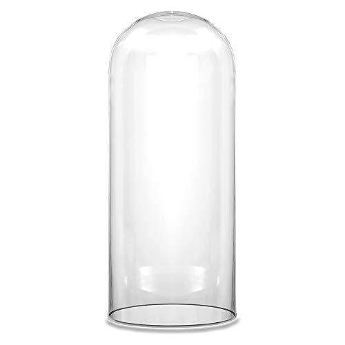 """CYS EXCEL Cúpula de vidro transparente decorativa, vitrine de exibição, Cloche Bell Jar Terrarium, peça central de mesa, No Wood Base, 14"""" tall x 6"""" wide"""