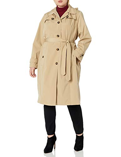 LONDON FOG Women's Single Breasted Belted Trench with Hood, British Khaki, Large