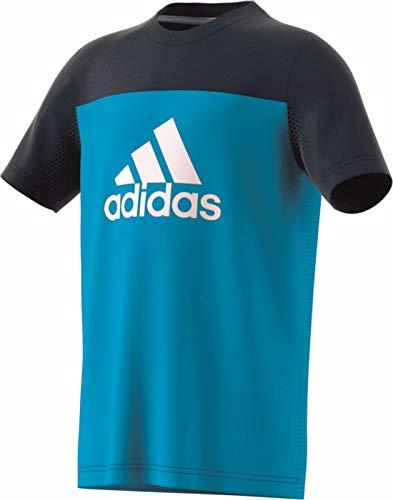 adidas Jungen Equipment T-Shirt, Shock Cyan/Collegiate Navy/White, 152