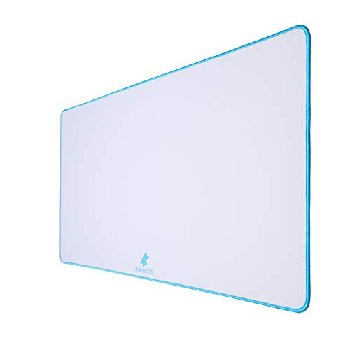 AnubisGX (39 Color/Size Options) Gaming Mouse Pad (XXL: 48'x24'), White Pad with Light Blue Stitching. Best Premium Waterproof Non RGB Computer Gaming XL Desk Pad Mat, Large Non-Slip Gamer Mousepad