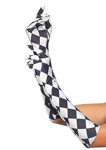Leg Avenue Women's Satin Harlequin Elbow Length Gloves, Black/White, One Size
