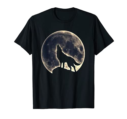 Lobo Camisa Luna Llena Bosque Aullido Caza Oculto Lobo Amor Camiseta