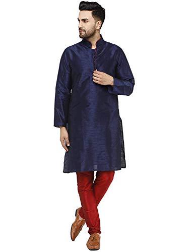 SKAVIJ Herren Tunika Sommer Kurta Pajama Party Tragen Outfit (Blau, L)