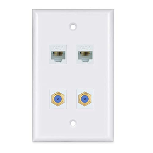2 Ethernet 2 Coax Wall Plate - 2 Ethernet Cat6 Jacks and 2 Coax Cable TV F-Type Faceplate - White