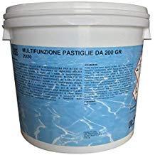 Romana Chimici Cloro pastiglie kg 10 Cloro pastiglie pasticche tricloro 90% 200 gr Pulizia Acqua Piscina