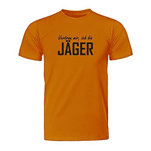 Vertrau Mir, ich Bin Jäger - Maglietta da uomo con scritta 'Jäger', con scritta 'Fairwear - ID8020 Colore: arancione. XXXL