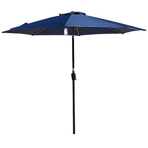 Deck Umbrellas Outside, 10 ft Outdoor Table/Market/Pool Umbrella with Crank Auto-Tilt - Aluminum, 8 Ribs, Navy Blue