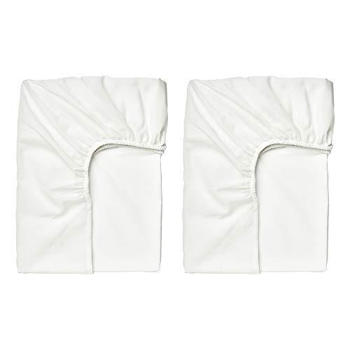 IKEA TAGGVALLMO Spannbettlaken für Einzelbett, 90 x 190 cm, Weiß, 2 Stück