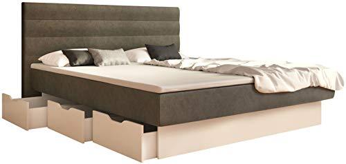 SuMa - Wasserbett dual 180x220 mit 6 Schubkästen im Unterbau, m. Topper, Sockel weiß und Kopfteil Largo, Farbe Carbon 180x220 cm