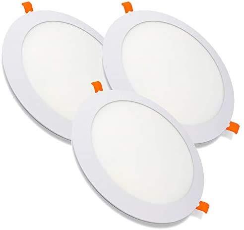 PACK X3, Downlight LED, Lamparas De Techo, Lampara De Techo, de 20W con 2000 Lúmenes · 6000K Luz Blanca Fria · LED con 218mm de diámetro, Corte 205mm [Clase Energética A++]