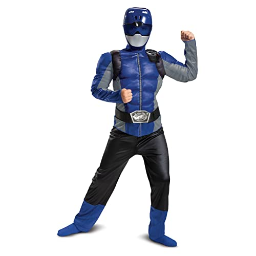 Disguise Blue Ranger Beast Morpher Boys' Muscle Costume, S (4-6)