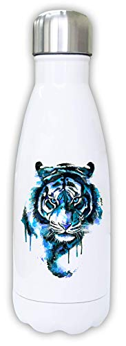 Iprints Rough Painted Blue Tiger Cat Graphic Thermal Water Bottle