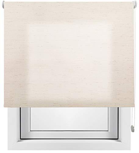 Estor Enrollable Lino Premium Metal (Desde 40 hasta 260cm de Ancho) translúcido (Permite Paso de luz/no Permite Ver el Exterior). Color Lino Crudo. Medida 140cm x 160cm para Ventanas y Puertas.
