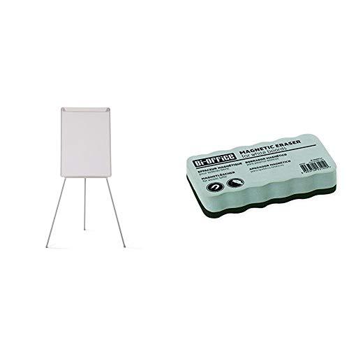 Bi-Office Pizarra Magnética con Caballete de Trípode Basic, 70 x 100 cm, Rotafolios con Marco Gris, con Bandeja y Clip Ajustable para Bloques + AA0105, Borrador magnético ligero, para pizarra blanca