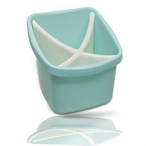 Kerafactum Cestello per posate, per posate piccole, per lavastoviglie, portaposate, universale, con 4 scomparti, 2 pezzi, senza BPA, colore: turchese