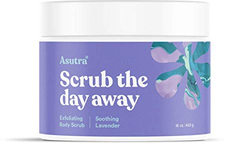 ASUTRA Dead Sea Salt Body Scrub Exfoliator (Soothing Lavender), NEW BIGGER 16 oz Size | Ultra Hydrating, Gentle, & Moisturizing | Coconut, Lavender, and Bergamot Oils