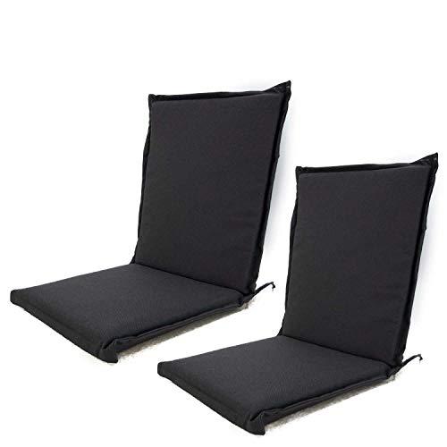 Edenjardi Pack 2 Cojines para sillón de jardín reclinable estándar Olefin Color Gris, Tamaño 92x42x4 cm, No Pierde Color, Desenfundable