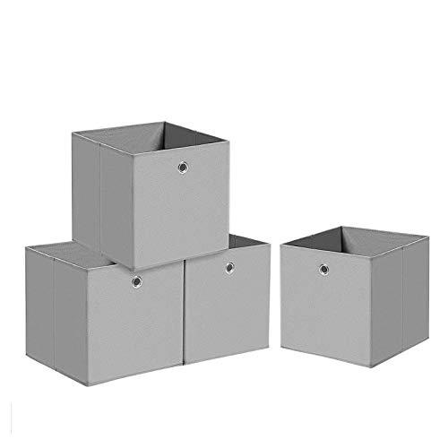 Trintion 4er Set Aufbewahrungsbox Aufbewahrungsboxen Faltbare Aufbewahrungskiste Stoffboxen Faltboxen aus Vliesstoff Aufbewahrungskörbe für Spielzeug,Kleidung und Bücher 32 x 32 cm(Grau)