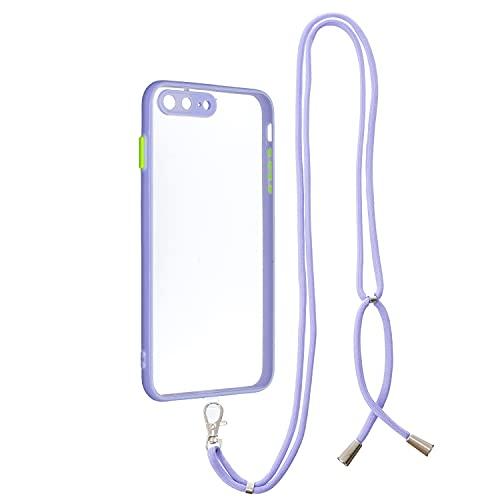 MOONCASE Funda para iPhone 7 Plus, Funda iPhone 8 Plus Funda con Cuerda Colgante Ajustable Carcasa Claro Correa de Cuello Caso con Correa para Hombro y Cordón - Púrpura