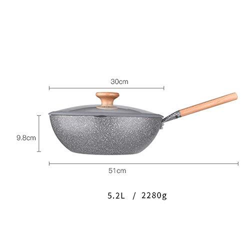 WSJ Pfannen Wok Antihaft-Pfanne mit flachem Boden, multifunktional, geeignet für Induktionsherde, Universal-Gas, Wok-Pfanne, 5,2 l Pfanne
