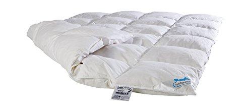Wolkenkind Premium Halbdaune Bettdecke NEPAL 100% Baumwolle, 135 x 200cm, weiß, Qualitäts Federbett, Kassettenbett 4 x 6, Made in Germany