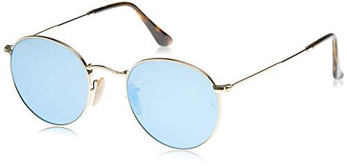 Ray-Ban Unisex Rb 3447n Sonnenbrille, Gold (Gestell: gold,Bügel: havana, Gläser: leichtes blau 001/9O), Small (Herstellergröße: 50)