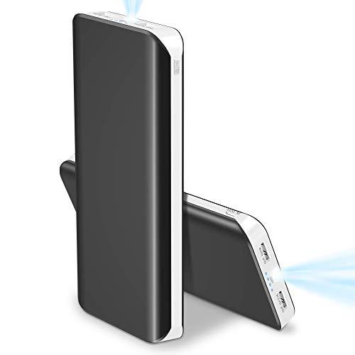 Powerbank 25000mAh, Caricabatterie Portatile 2 USB Porte Identificazione Automatica Carica Veloce con 4 LED indicatori 400 Ore Torcia Batteria Esterna per iPhone iPad Huawei Samsung Android(bianca) …