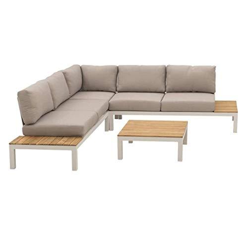OUTLIV. Merida Loungeecke 3-TLG. Aluminiumgestell, Tischplatte aus Teakholz, Kissenbezug aus 100% Polyester, ca. 245,5 x 245,5 x 73 cm