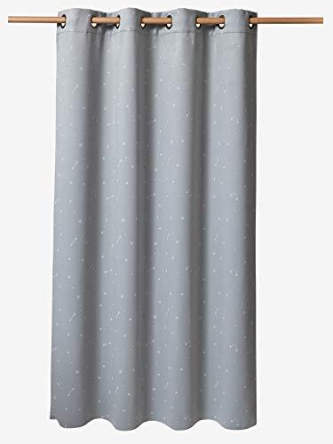 Vertbaudet Verdunkelungsvorhang mit phosphoreszierenden Motiven grau/weiß 135X180