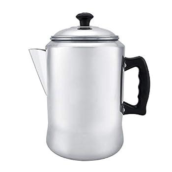 3L Aluminum Alloy Coffee Maker Pot Percolator Beverage Dispenser Tea Kettle With Protective Plastic Handles Top with Lid