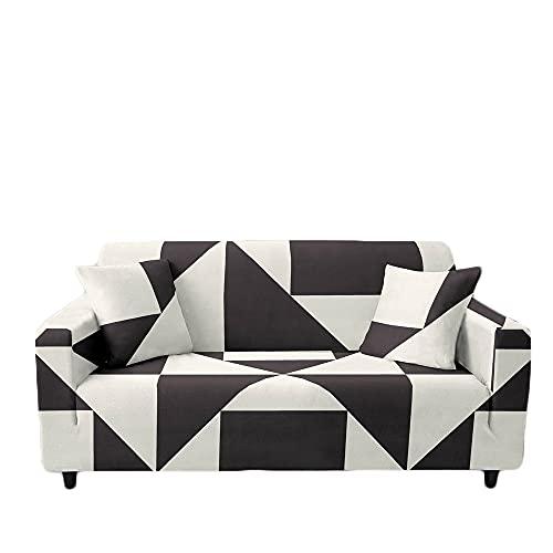 Meiju Fundas de Sofá Elasticas 1 2 3 4 Plazas Enrejado Ajustables Antideslizante Cubierta de Sofá Lavable Extensible Funda Cubre Sofas Furniture Protector (3 plazas - 190-230cm,Triángulo Negro)