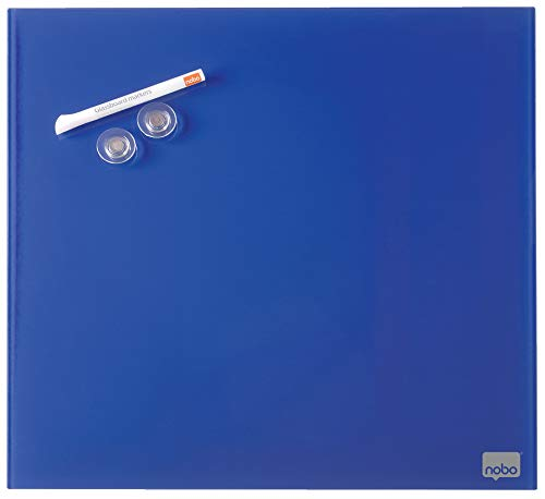 Nobo Pizarra Blanca Pequeña Magnética, Limpiado en Seco, Sin Marco, Sistema de Montaje en Pared Oculto, Incluye Rotulador e Imanes, Azul, 300 x 300 mm, 1903952