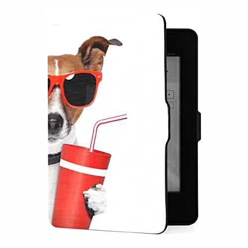 Funda para Kindle Paperwhite 1/2/3 Generation Dog con Gafas de Sol Funda para Palomitas de maíz y Bebida Cola Compatible con Funda Protectora para Kindle Paperwhite Funda de Piel s