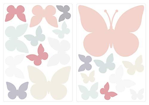 dekodino® Wandtattoo Pastell Schmetterlinge in zarten Farben 20 Stück Deko