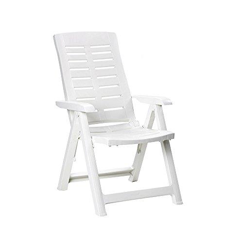 Sedia In Polipropilene Yuma 5 Posizioni Lettino Pieghevole Bianca 60x61x109