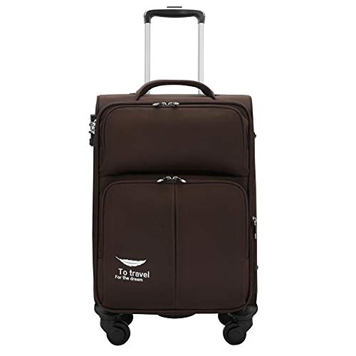Adlereyire Trolley Bag 56 Liters,Lightweight and Waterproof Roller Bag Holdall with Wheels Functional Cabin Luggage Bag for Laptops up to 21' (Color : Brown, Size : 352050cm)