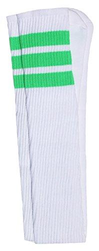 Skater Socks 88,9 cm Oberschenkelhoch weiße Röhrensocken mit neongrünen Streifen Stil 1