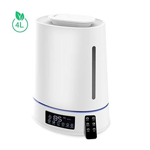 Ultraschall Luftbefeuchter 4L Ultra Leise 28dB Top-Füllung Humidifier mit Fernbedienung, Feuchtemonitor, Timer, Touch Bedien, 7 Farben LED Raumluftbefeuchter bis zu 40-50m² für Baby Schlafzimmer Büro