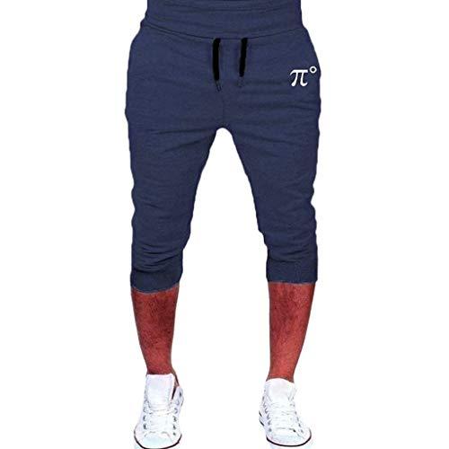 Moda Color Sólido Pantalones Cortos de Hombres 3/4 Pantalones pantalón Deportivos Casuales Pantalones de Cortos de Verano Transpirables para Correr MMUJERY