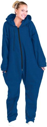 PEARL basic Kuschel Jumpsuit: Jumpsuit aus flauschigem Fleece, blau, Größe L (Jumpsuit Erwachsene)