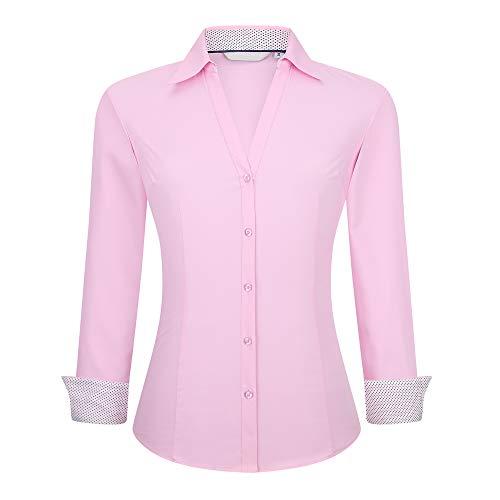 Alex Vando Womens Button Down Shirts Easy Care Long Sleeve Stretch Casual Dress Shirt,Pink,L