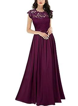 Miusol Women s Formal Floral Lace Evening Party Maxi Dress Magenta