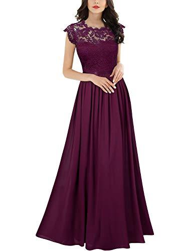 MIUSOL Damen Elegant Ärmellos Rundhals Vintage Herbst Winter Hochzeit Chiffon Faltenrock Langes Kleid Magenta Gr.L